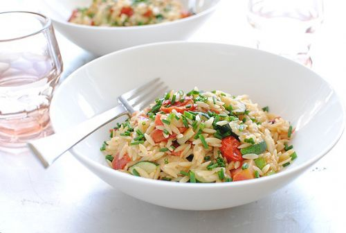 Orzo with Gruyere and Garden Veggies