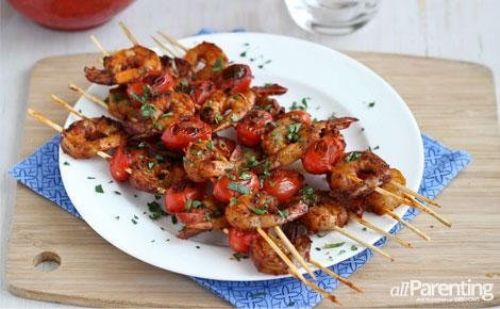 Spicy Shrimp & Tomato Kebabs