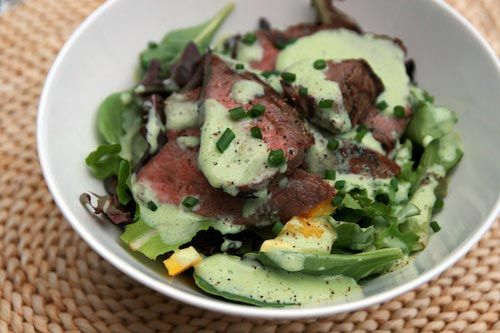 Steak Salad with Chive-Yogurt Dressing