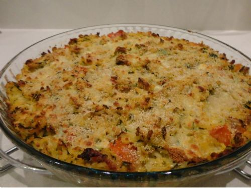 Courgette Tomato and Bacon Baked Rice
