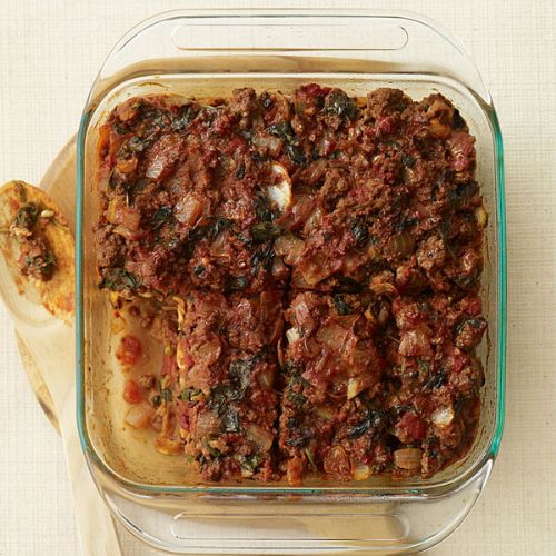 Beef and Spinach Matzo Pie