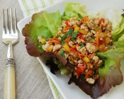 Chicken Vegetable Lettuce Cups
