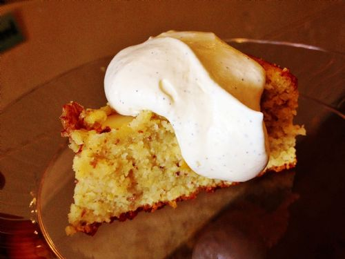Damp Apple Almond Cake w/ Cardamom Whipped Cream