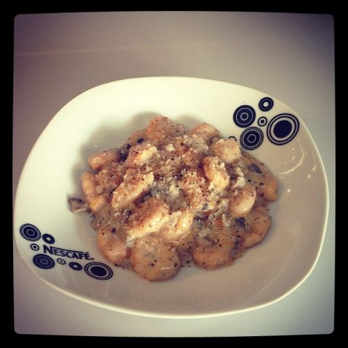 Homemade Pumpkin Gnocchi with Mushrooms