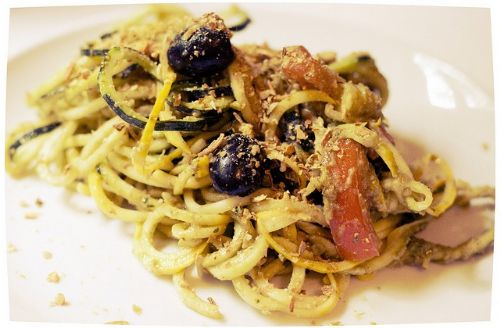 Zucchini Pasta with Basil Pesto and Pumpkin Seed