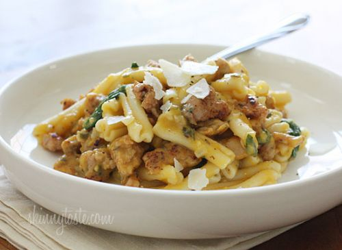 Pasta with Spicy Sausage, Baby Spinach and Creamy