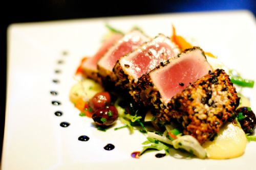 Sesame Crusted Ahi Tuna and Wasabi Beurre Blanc