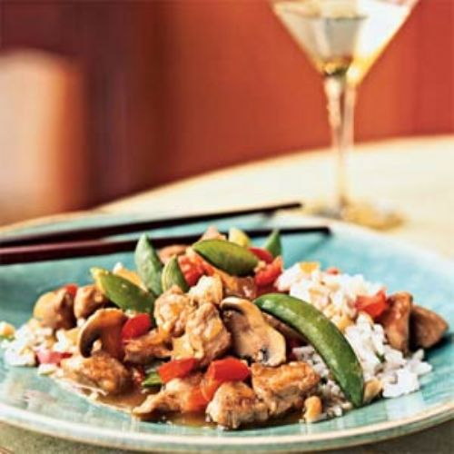 Pork and Vegetable Stir Fry with Cashew Rice