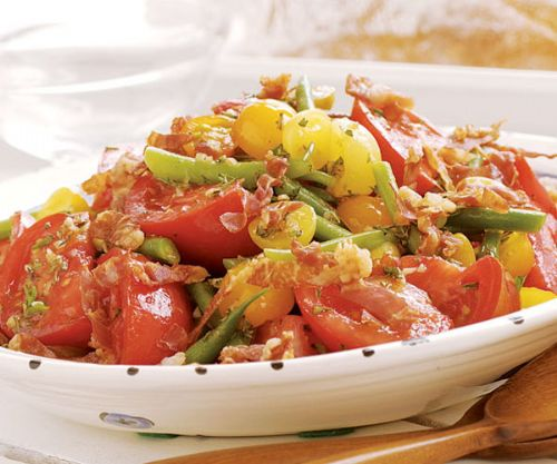 Tomatoe and Fresh Green Bean Salad with Prosciutto
