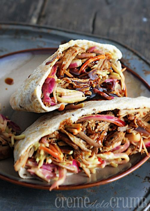 Slow Cooker BBQ Pork Pitas with Southwest Slaw