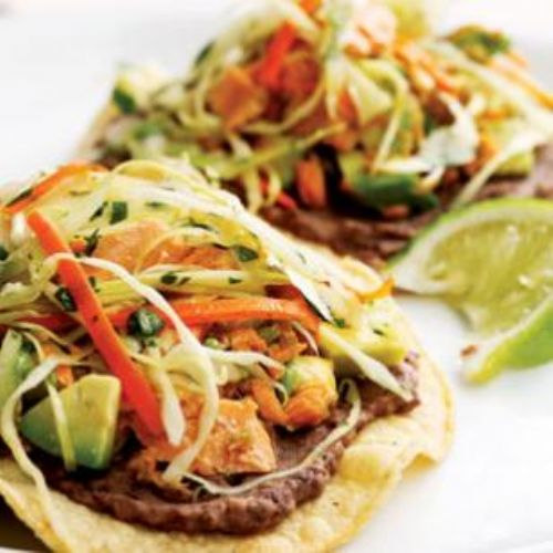 Black Bean and Salmon Tostadas