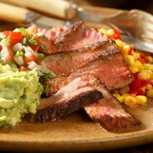 Roasted Strip Steaks with Pebre Sauce and Avacado