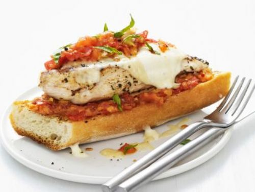 Grilled Chicken Parmesan Open Faced Sandwich