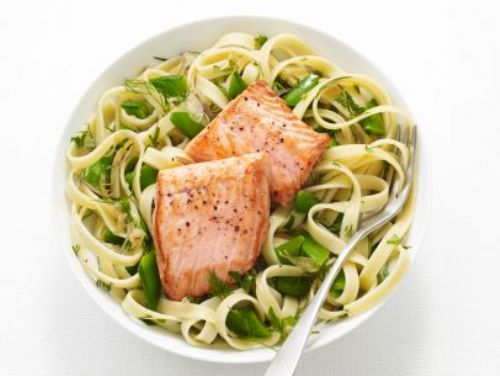 Fettuccine with Salmon and Snap peas
