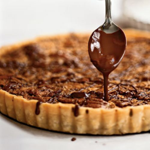 Bourbon Pecan Tart with Chocolate Drizzle