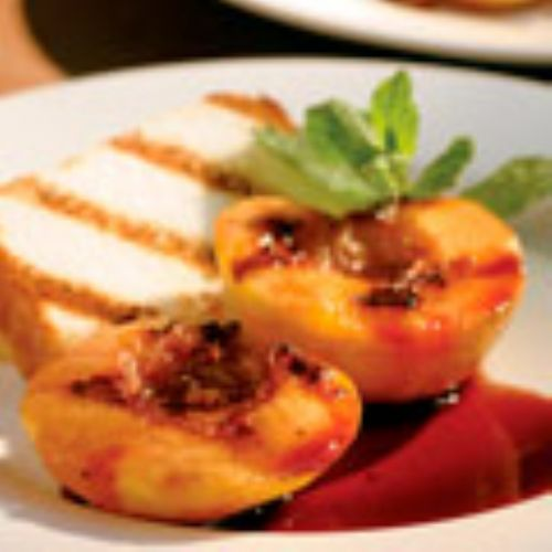 Grilled Peaches, Angel Food Cake with Wine Sauce