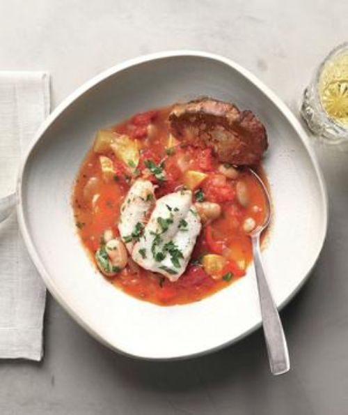 Poached Cod With Tomatoes, White Beans, and Toast