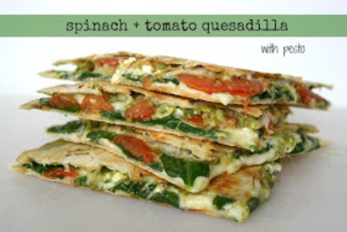 Spinach and Tomato Quesadilla with Pesto