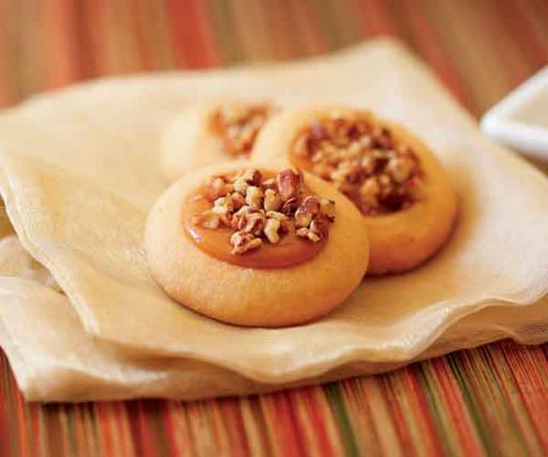 Nutty Caramel Thumbprint Cookies
