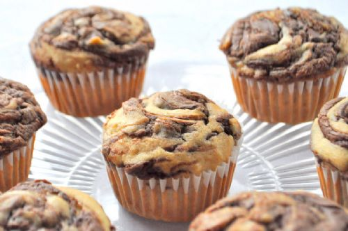 Peanut Butter Banana Muffins with Nutella Swirl