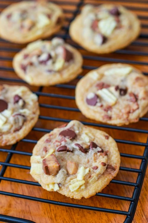 Sweet and Salty Potato Chip Toffee Cookies