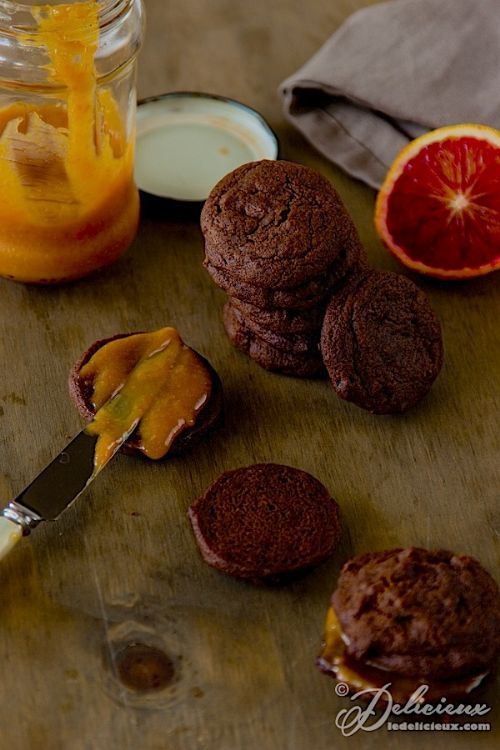 Chocolate Brownie Cookies with Blood Orange Curd