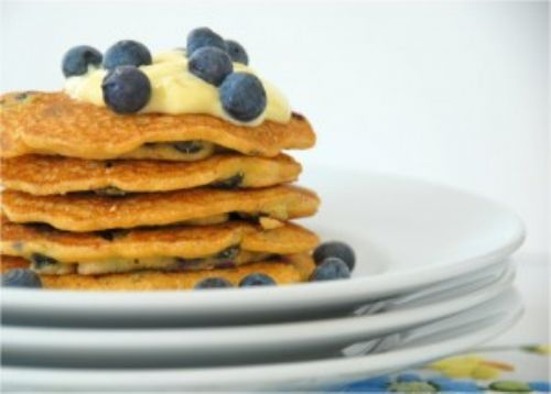 Blueberry Cornmeal Griddle Cakes with Lemon Curd