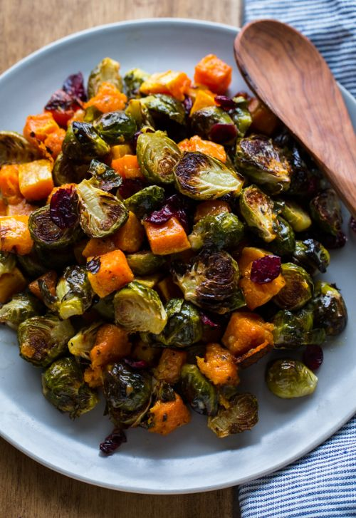 Roasted Brussels Sprouts and Squash with Dried Cra