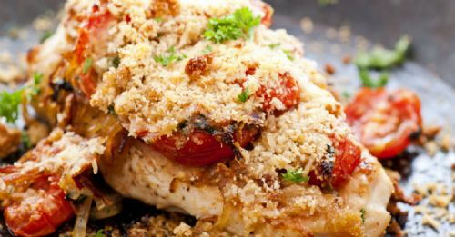 PARMESAN-BAKED CHICKEN WITH CARAMELIZED VEGGIES