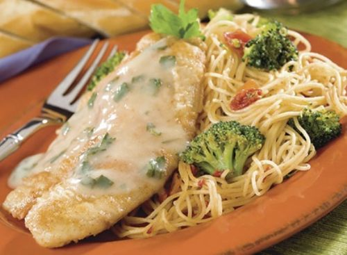 Tilapia on Angel Hair Pasta with Lemon White Sauce