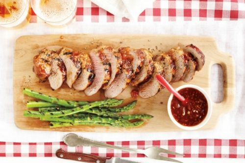 Peach-Chipotle Pork With Asparagus