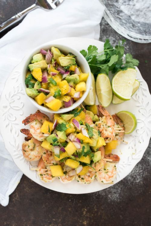 Grilled Mango Cilantro Shrimp