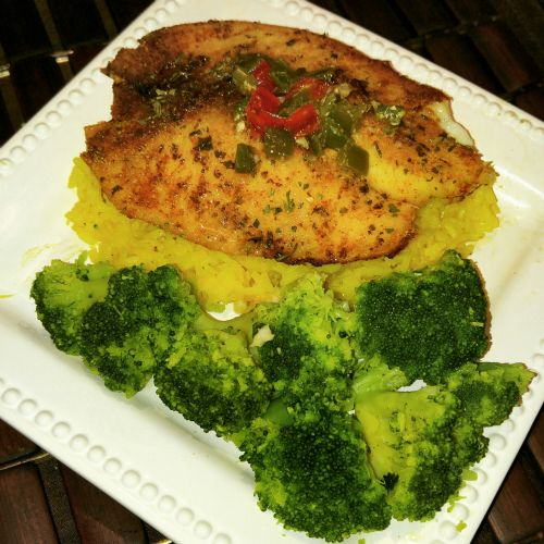 Baked Tilapia Over Yellow Rice