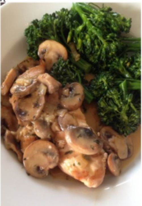 Grilled Chicken with Tarragon Mushroom Cream Sauce
