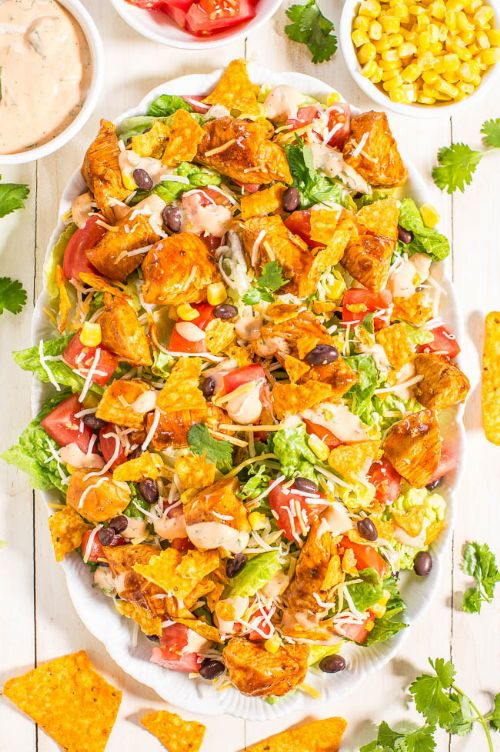 Loaded Chicken Taco Salad & Lime-Cilantro Dressing