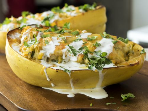 Green Chile Chicken-Stuffed Spaghetti Squash