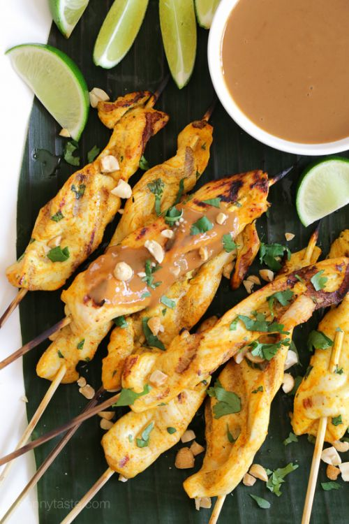 Grilled Chicken Satay with Spicy Peanut Sauce