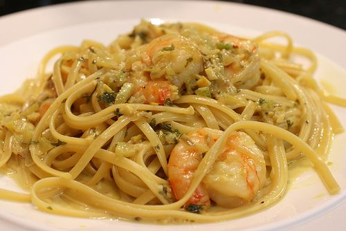 Shrimp and linguini