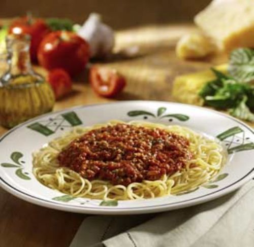 Capellini (angel hair pasta) with meat sauce