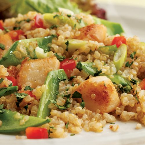 Toasted Quinoa Salad w/Scallops and Snow Peas