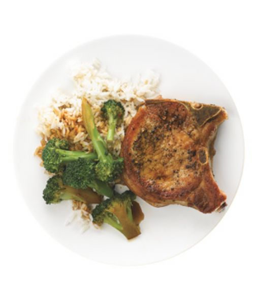 Pork Chops with Garlic Broccoli