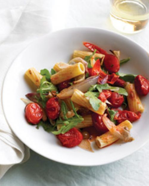 Pasta with Roasted Vegetables and Arugula
