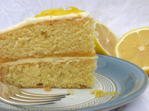Lemon Victoria Sponge with lemon butter icing