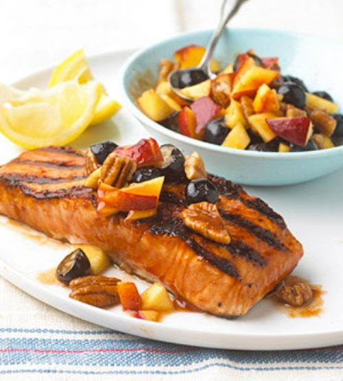 Barbecued Salmon with Fresh Nectarine Salsa