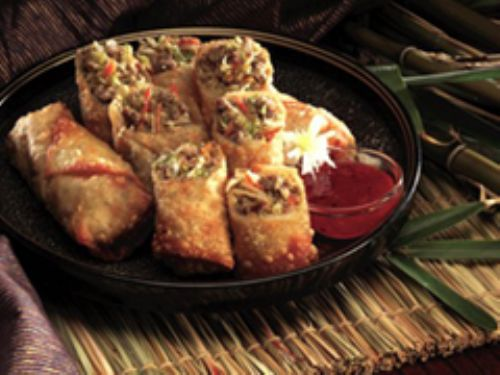 Golden Sausage Egg Rolls