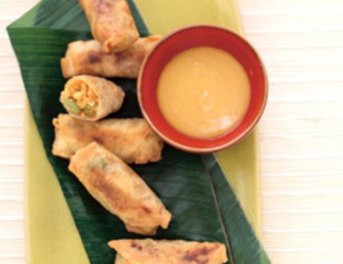 Baked Mini Egg Rolls & Hot Mustard Sauce