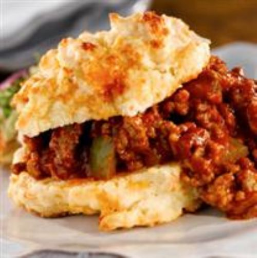 Sloppy Joes on Cheddar Cheese Biscuits