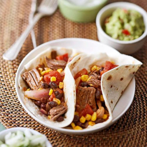 shredded beef, bean, and corn fajitas