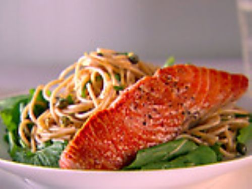 Whole-Wheat Spaghetti with Lemon, Basil & Salmon