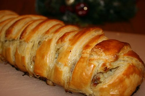 Sausage and Stuffing Criss-Cross Pastry